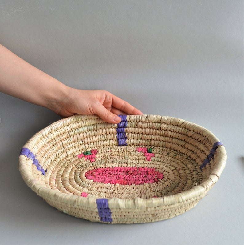 Wide oval  Handwoven palm leaves platter