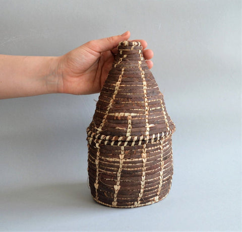 Egyptian rustic basket Palm leaves with leather