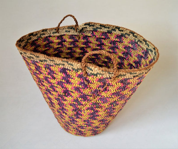 Vintage braided palm leaves basket, Big African basket