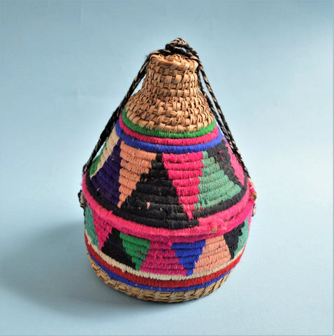Ethnic Egyptian Jabana basket Woven straw box