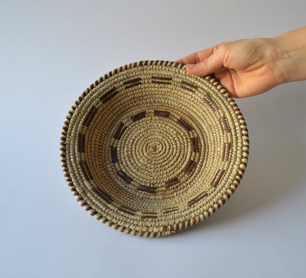 Woven African plate, Palm leaf woven basket with natural leather