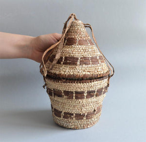 Unique rustic basket Palm leaves with leather