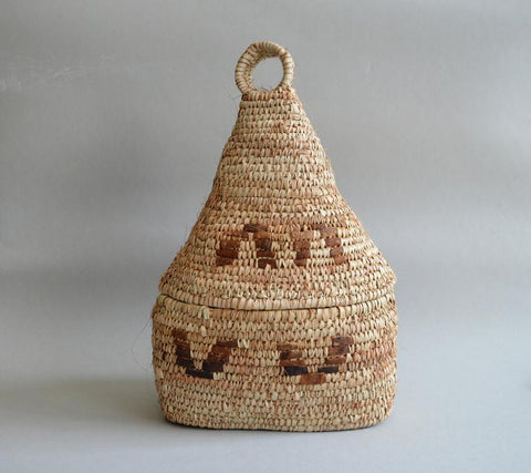 Elegant Rustic basket Palm Straw with leather