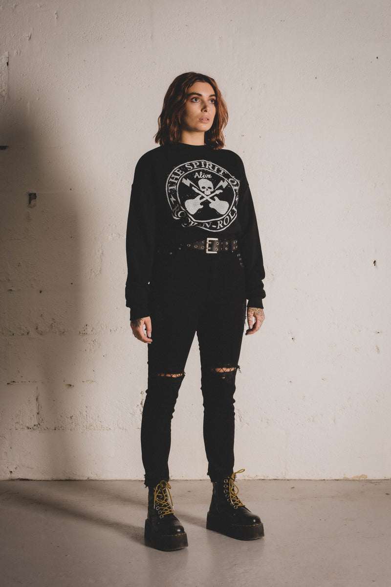 Spirit of Rock 'n' Roll Cropped Sweatshirt - Alive Denim, Rock n Roll Denim, Contemporary Denim Brand, Alive Denim Jeans Denim Jackets, Vintage T-Shirts and Vintage Hoodies
