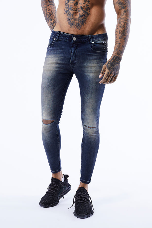RIPPED KNEE JEANS | SANDBLAST BLUE - Alive Denim, Rock n Roll Denim, Contemporary Denim Brand, Alive Denim Jeans Denim Jackets, Vintage T-Shirts and Vintage Hoodies