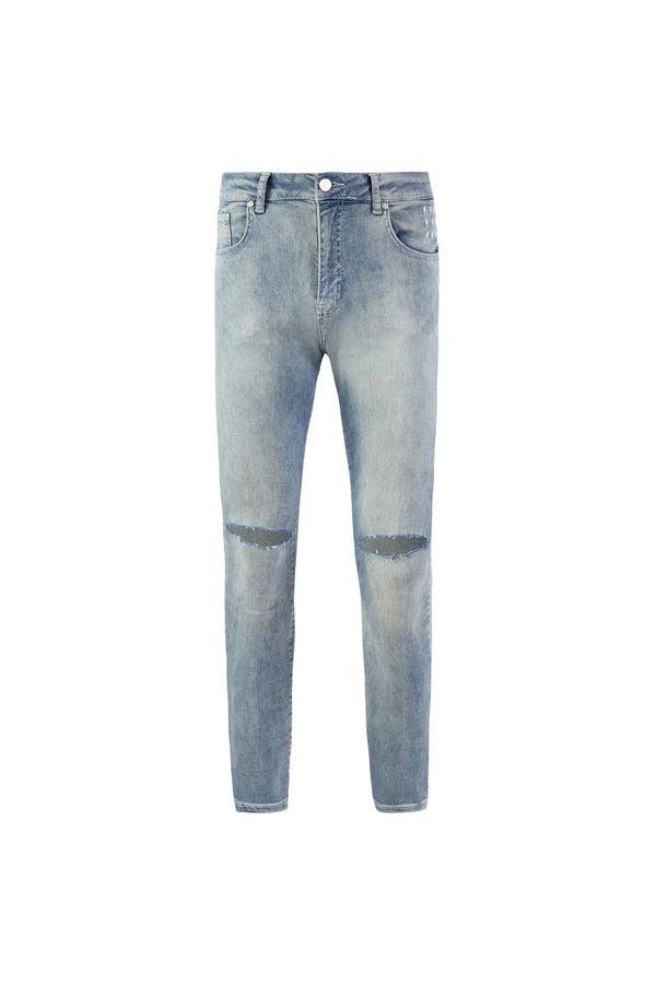 Ripped Knee Jeans | Dirty Vintage Blue - Alive Denim, Rock n Roll Denim, Contemporary Denim Brand, Alive Denim Jeans Denim Jackets, Vintage T-Shirts and Vintage Hoodies
