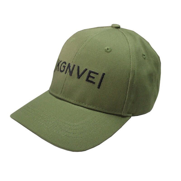 Left view of KGNVE 6 panel khaki baseball cap, one size fits all hat