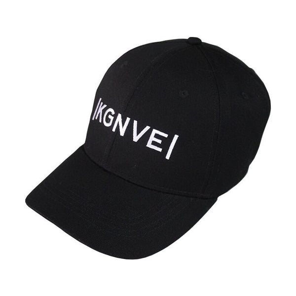 Left view of KGNVE 6 panel black baseball cap, one size fits all hat