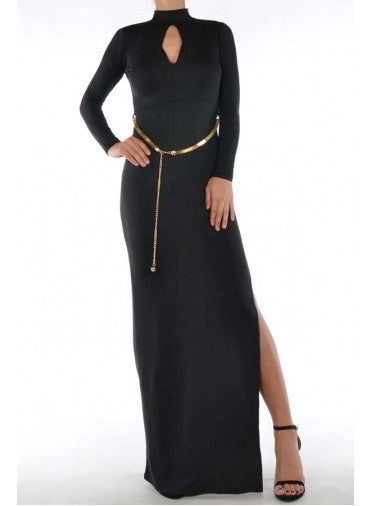 HIGH NECK BELTED DRESS
