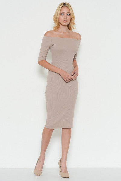 Off Shoulder Tan Midi Dress