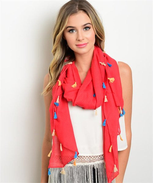 Tassel Red Scarf