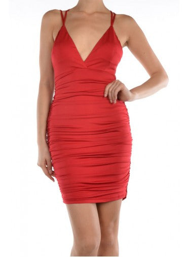 Ruched Red Dress with Straps