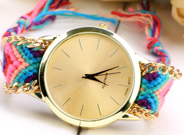 Women's Knit Quartz Bracelet Wristwatch