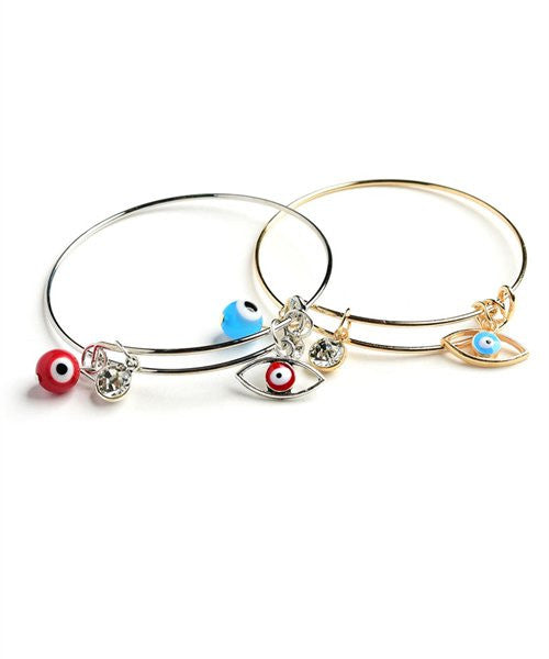 Blue Evil Eye Bangle Silver