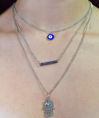 Eye and Hand Layered Necklace - Dash Posh Boutique