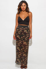 LAURELLE OLIVE GREEN BROWN MAXI SKIRT