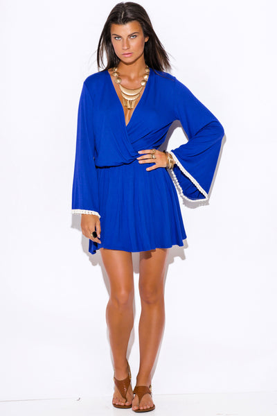 BLUE TRIM BACKLESS LONG KIMONO MINI DRESS