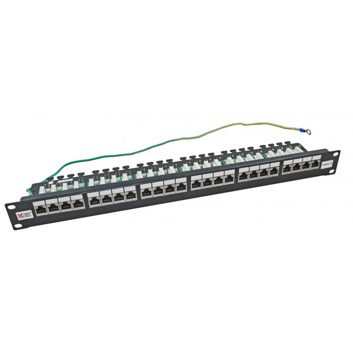 24 Port Cat6a FTP Shielded 20/20 Right Angled Patch Panel