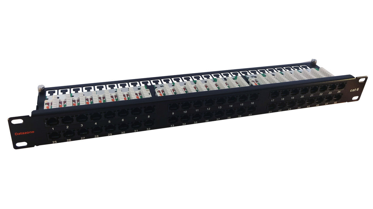 "Datazone 1u 48 Way RJ45 UTP CAT6 19"" Rack Mount Patch Panel"