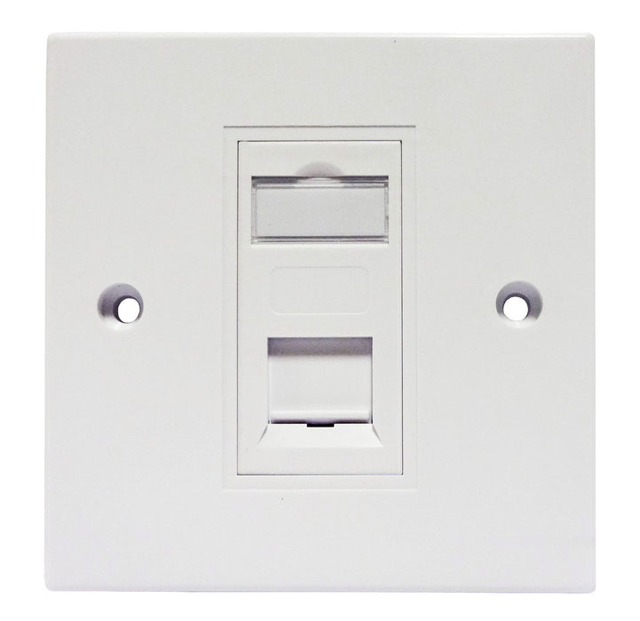 Datazone Single Gang Square Faceplate Including Cat 5e Module