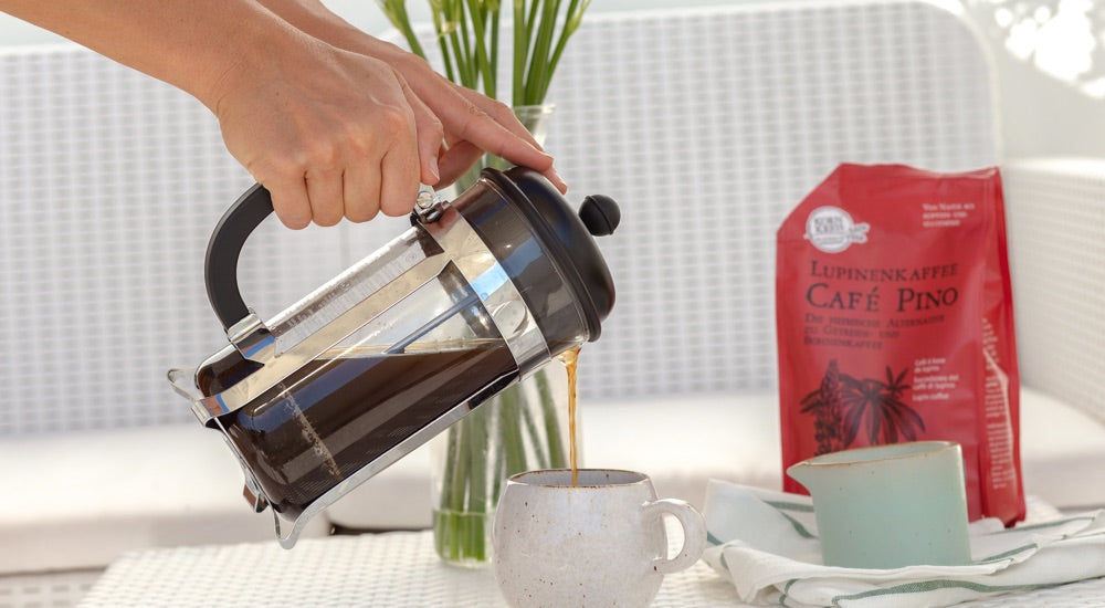 Lupinenkaffee aus der French Press