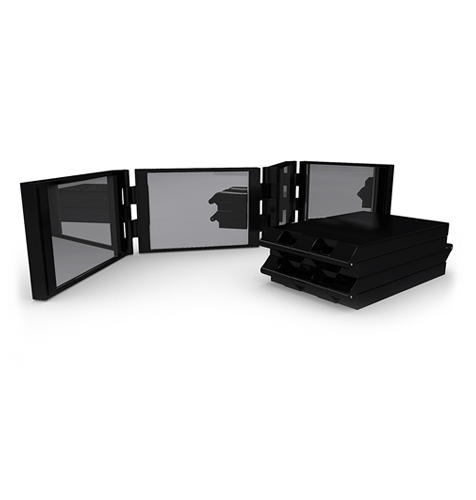 4 Panel Expandable Compact Mirror. Available in Black, White & Pink
