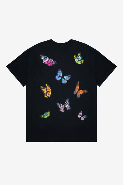 BUTTERFLY BACK PRINT BLACK TEE