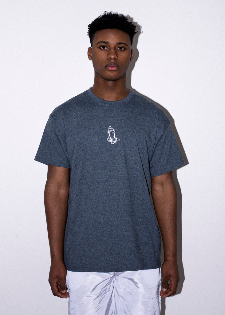 PRAY EMBROIDERED HEATHER TEE