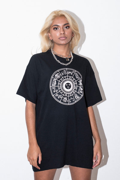 ZODIAC WHEEL UNISEX BLACK TEE