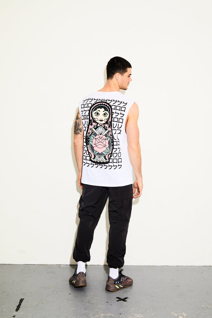 RUSSIAN DOLL WHITE SLEEVELESS