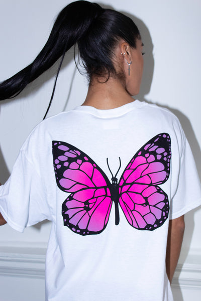 BACK BUTTERFLY WHITE TEE