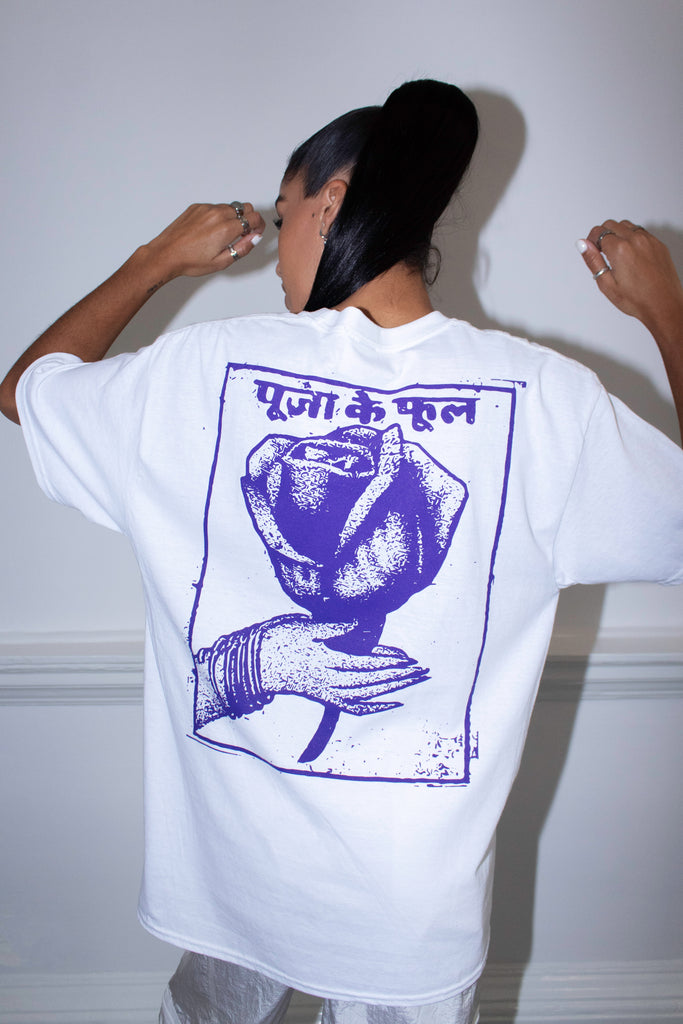 PURPLE INDIAN ROSE WHITE TEE