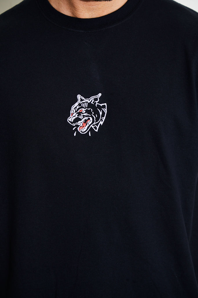 FALSE EMBROIDERY BLACK TEE