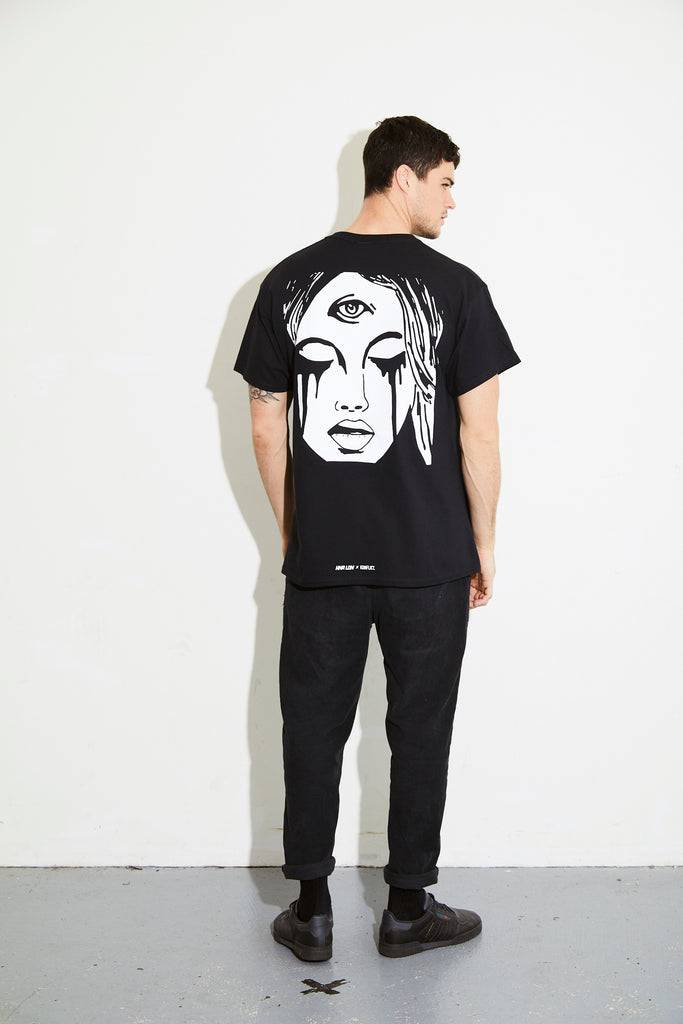 HNR x KONFLICT FACE BLACK TEE