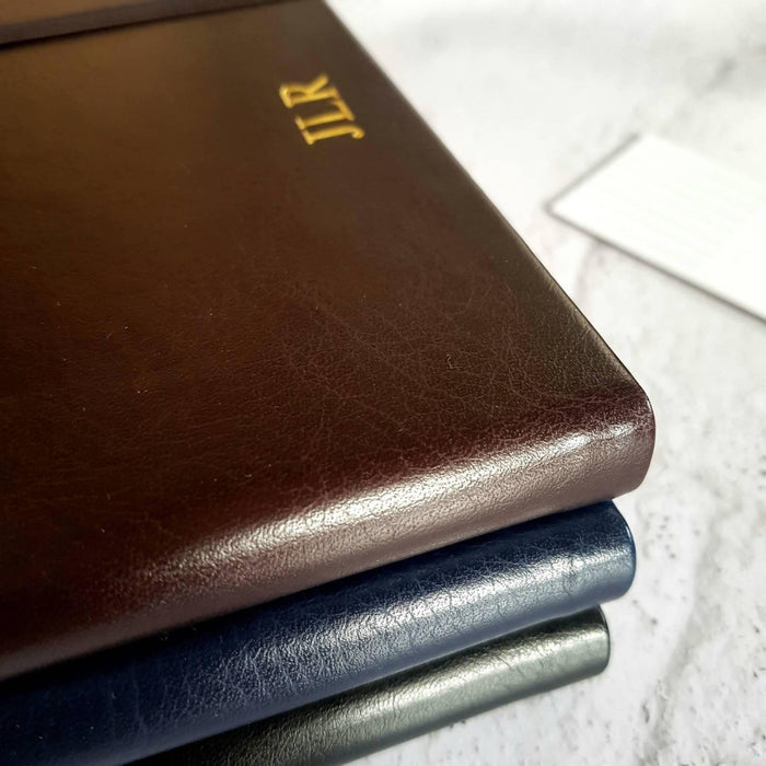 A5 Brown Vegan Leather Notebook, Personalised Dotted/Bullet Pages, with Initials/Monogram NightNavy Notebook Love