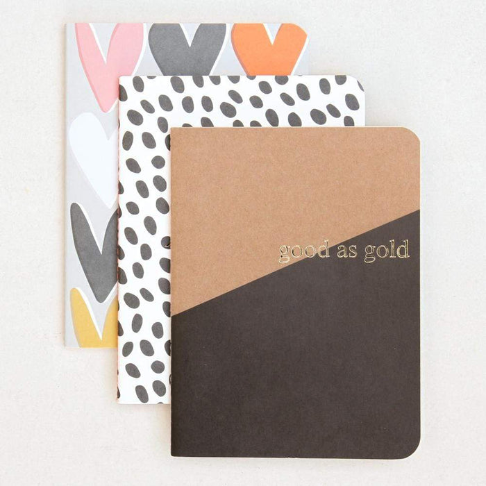 A5 Caroline Gardner, Set 3 Kraft Exercise Books, Good As Gold Notebook Love NBS100 Notebook Love