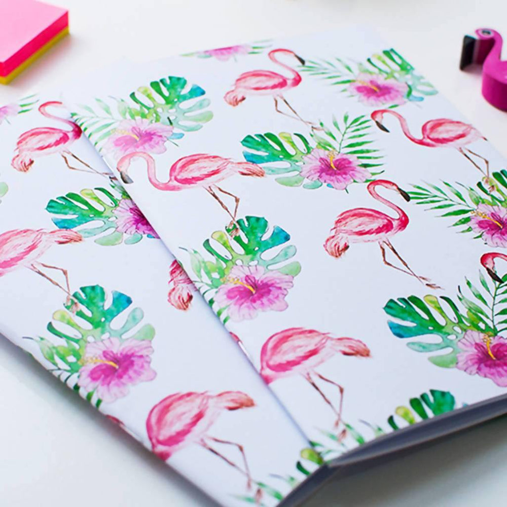 A5 Flamingo Notebook. Set of two A5 Notebooks Dessi Designs Notebook Love