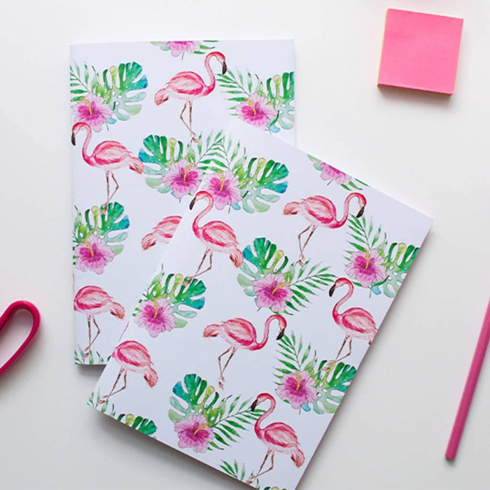 A5 Flamingo Notebook. Set of two A5 Notebooks Dessi Designs DDNLF2 Notebook Love