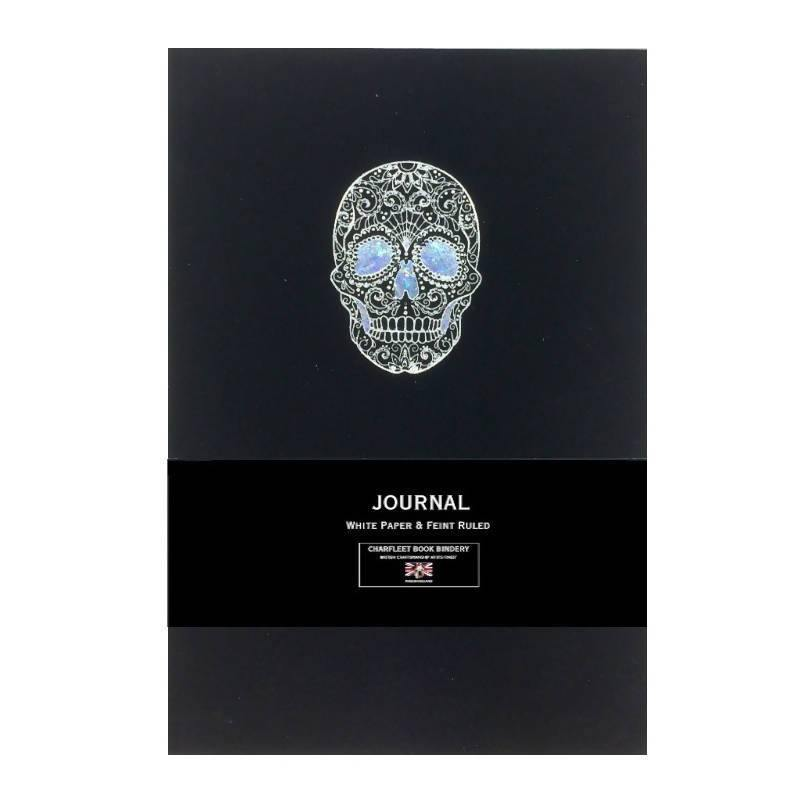 A5 METALLIC COLLECTION SILVER SKULL NOTEBOOK CHARFLEET BOOK BINDERY NB86SKL-SIL Notebook Love
