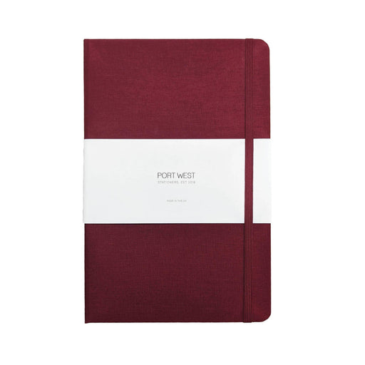A5 Notebook (Burgundy) - Recycled Carbon Neutral Paper, Fabric Cover, Hardback, Made in The UK Port West Stationers PWDB003_DOT_BUR Notebook Love