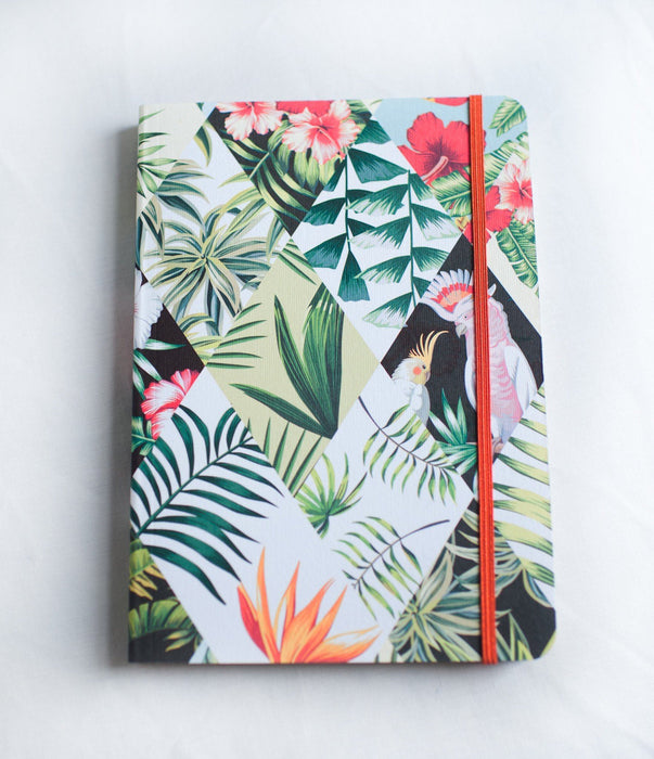 A5 Notebook Love Palms and Parrots Notebook with Elastic Notebook Love 5NBL003 Notebook Love