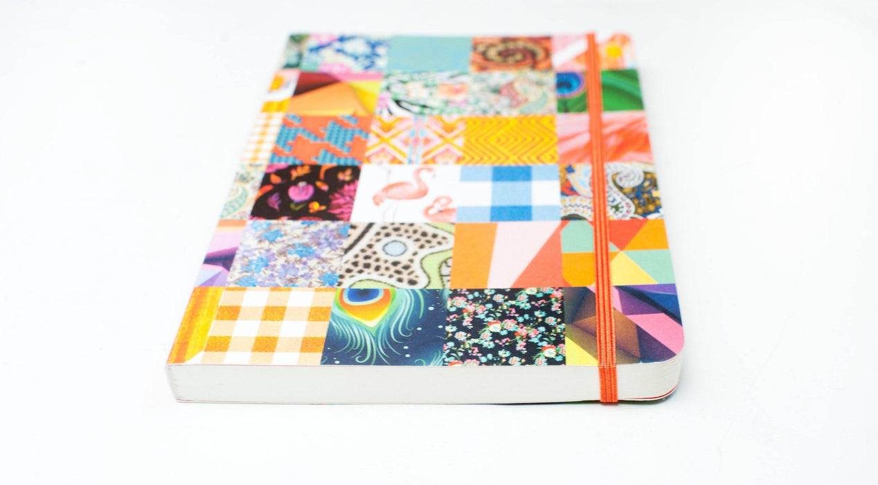 A5 Notebook Love Peacock, Gingham and Flamingo Patchwork Notebook with Elastic Notebook Love 5NBL010 Notebook Love