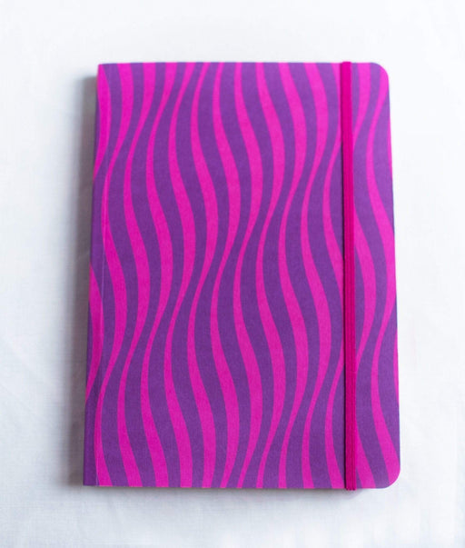 A5 Notebook Love Pink and Purple Waves Notebook with Elastic Notebook Love 5NBL001 Notebook Love