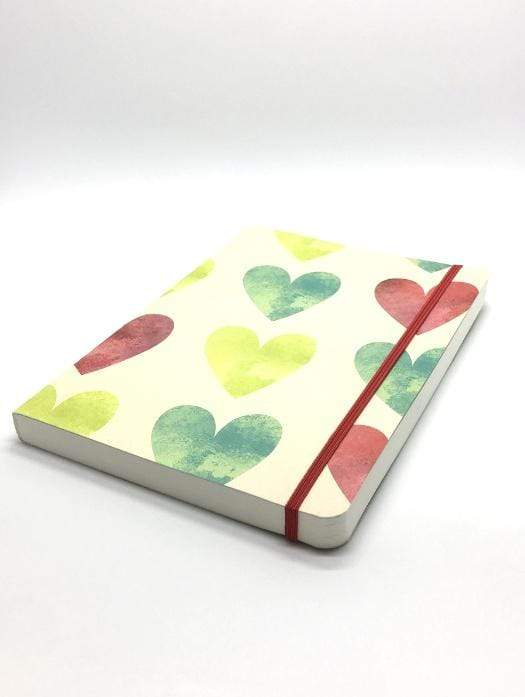 A5 Notebook Love Red and Green Hearts Notebook with Elastic Notebook Love 5NBL004 Notebook Love