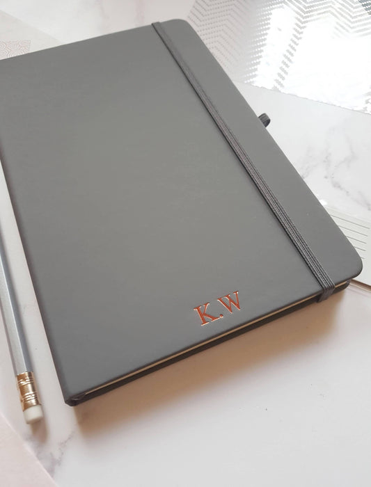 A5 Personalised Notebook, Grey Lined Journal with Initials/Monogram NightNavy Notebook Love