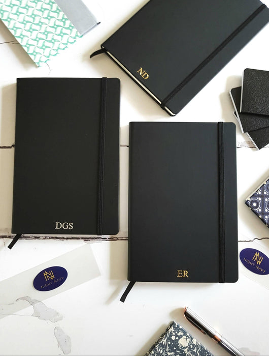 A5 Personalised Sketchbook, Black Notebook with Initials/Monogram NightNavy Notebook Love