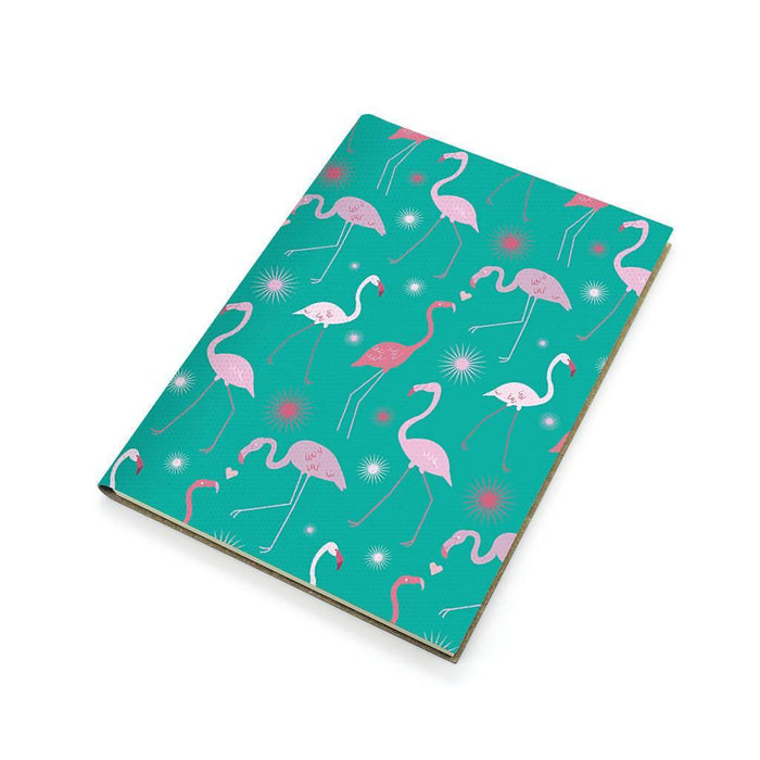 A5 Recycled Leather Notebook - Flamingos Forever Printworks 617SKUNAV Notebook Love