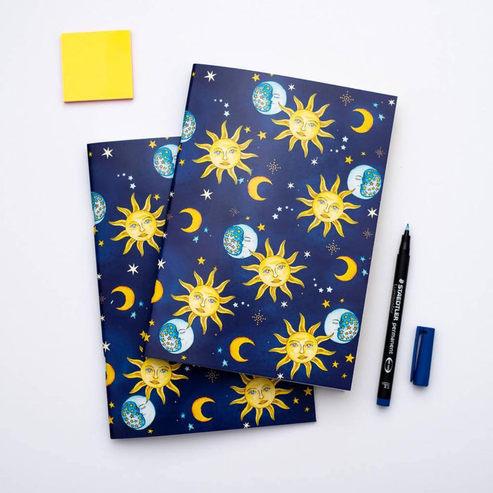 A5 Vintage Celestial Notebook. Set of two A5 Notebooks Dessi Designs DDNLVC2 Notebook Love