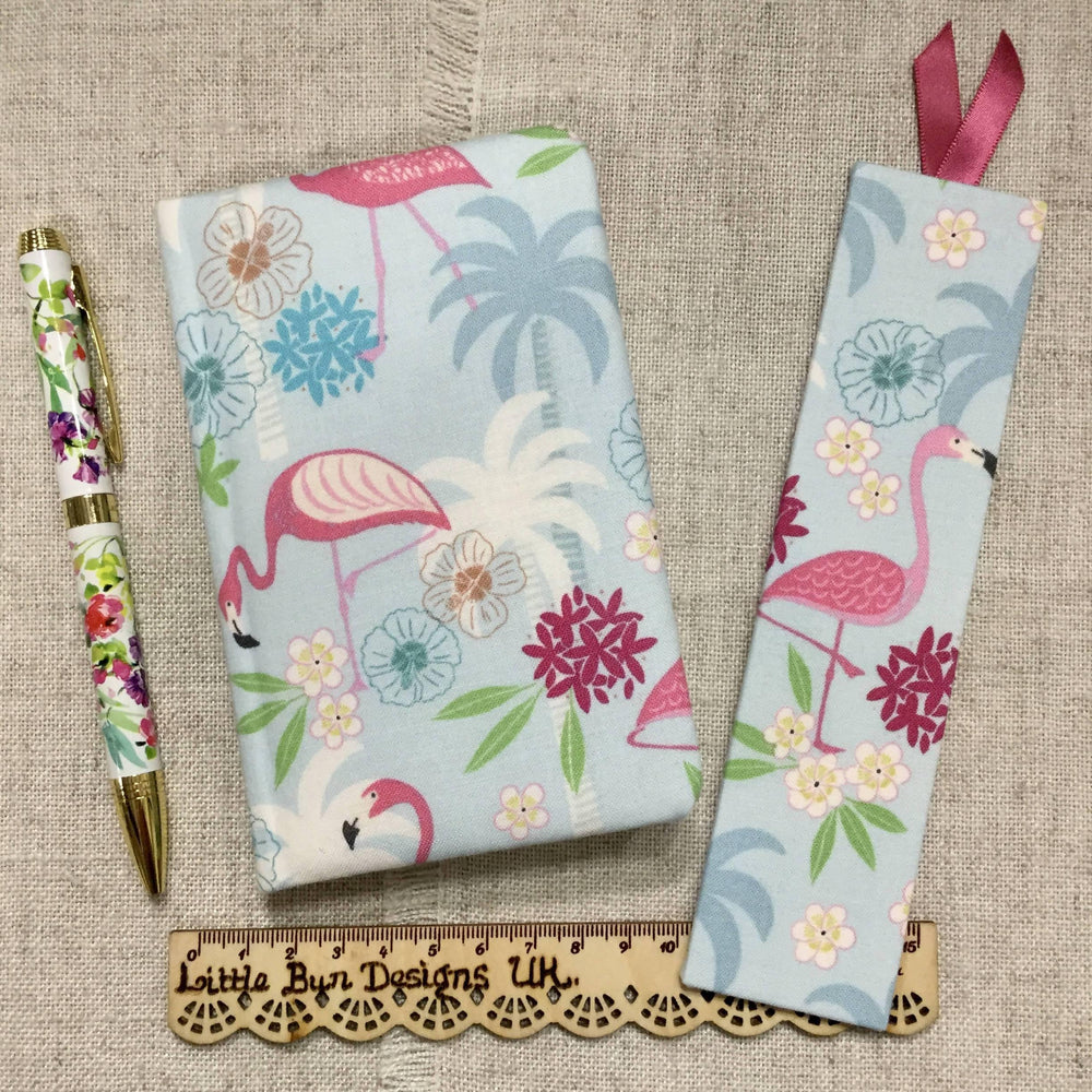 A6 Flamingo Fabric Notebook / Sketchbook Little Bun Designs UK Notebook Love