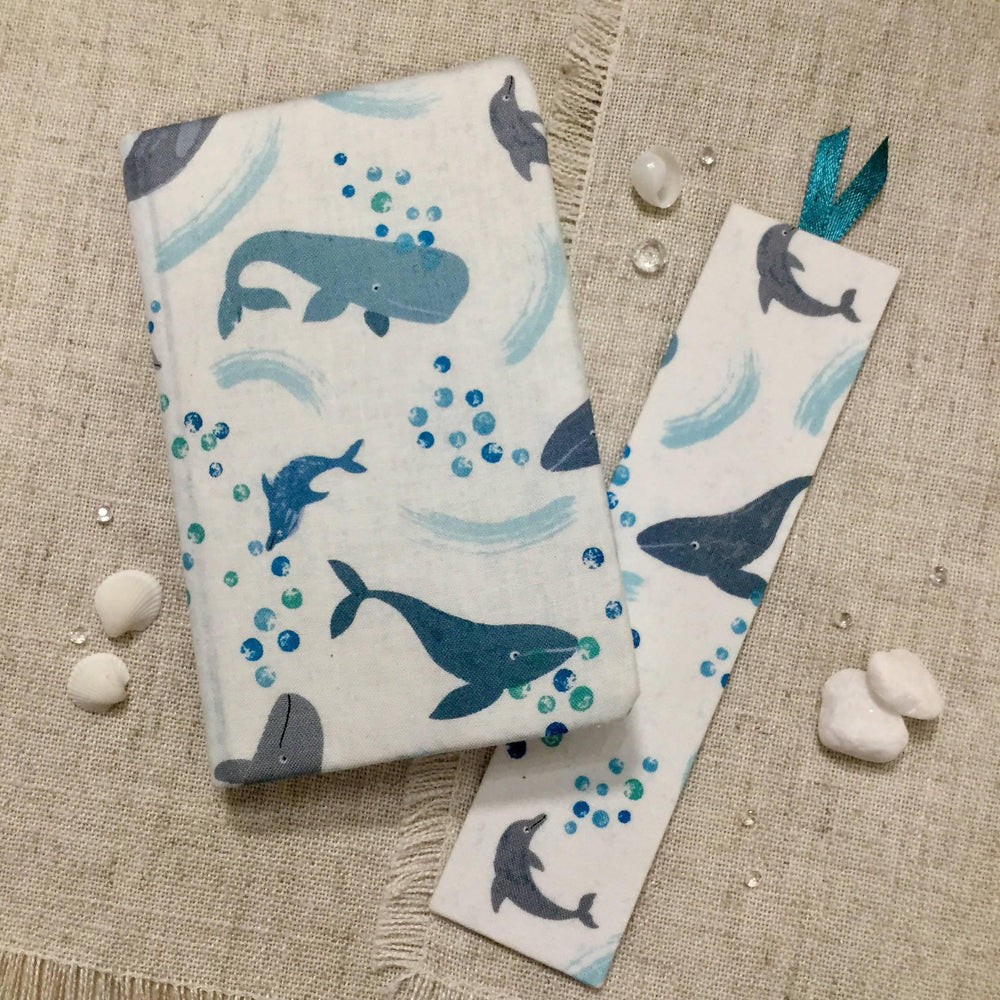 A6 Hand Covered Fabric Notebook / Sketchbook / Whales and Dolphins Little Bun Designs UK Notebook Love